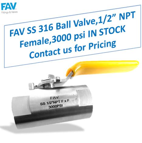 FAV SS 316 Ball Valve NPT F 3000 psi
