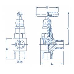 SS 316 Needle Valve Angle  Male X Male