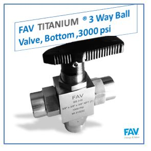 Titanium 3 Way Ball Valve, Bottom, 3000 PSI
