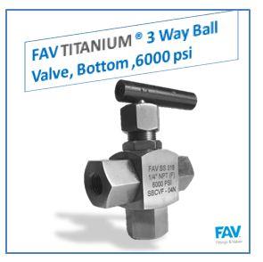 Titanium 3 Way Ball Valve, Bottom, 6000 PSI