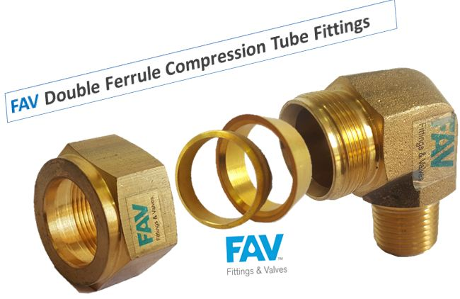 Brass Male Elbow Double Ferrule Fittings