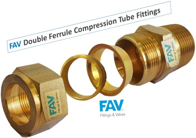 Brass  Male Connector Double Ferrule Compression Tube Fittings