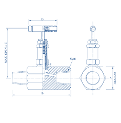 Hex Needle Valve Female X Male,6000 psi Hexagonal