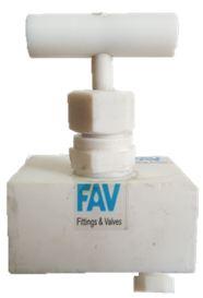 PTFE Needle Valves Teflon with Drain Plug