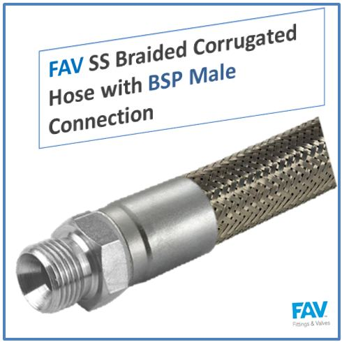 SS Braided Corrugated Hose with BSP Male Connection