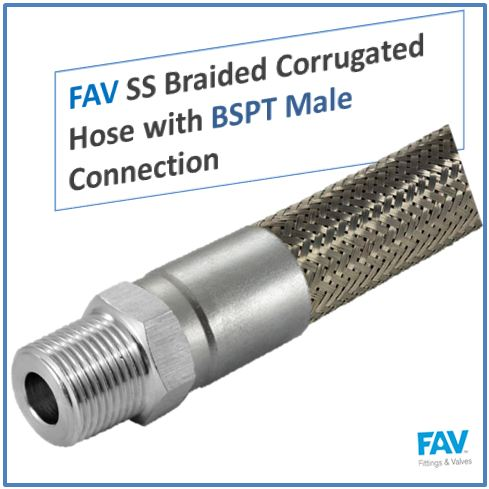 SS Braided Corrugated Hose with BSPT Male Connection