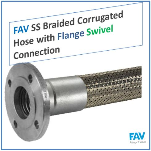 SS Braided Corrugated Hose with Flange Swivel Connection