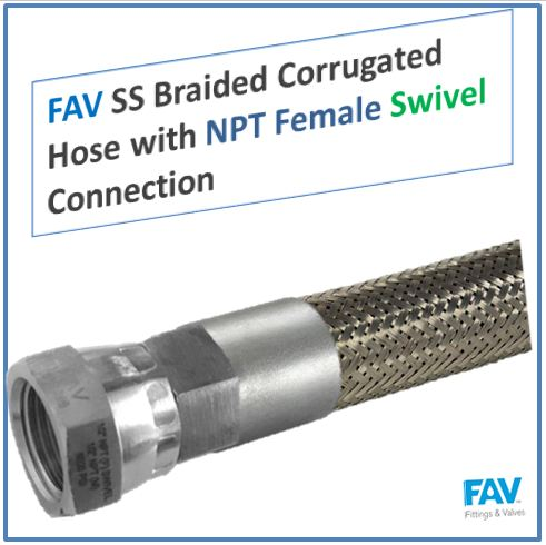 SS Braided Corrugated Hose with NPT Female Swivel Connection