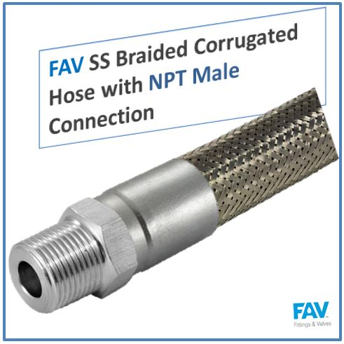 SS Braided Corrugated Hose with NPT Male Connection