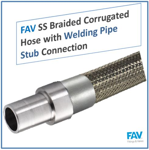SS Braided Corrugated Hose with Welding Pipe Stub Connection