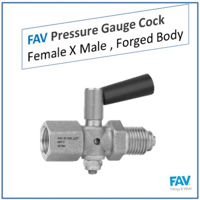 Pressure Gauge Cock Female X Male, Forged Body
